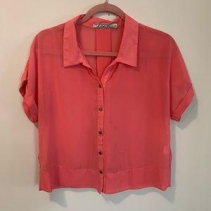 Short Sleeve Silky Chloe K Peach Button Up Top